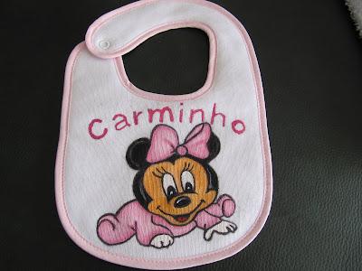 Babete com minie baby pintada