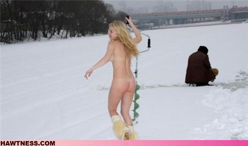nude girl ice fishing