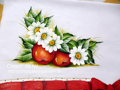 pintura de maças e margaridas
