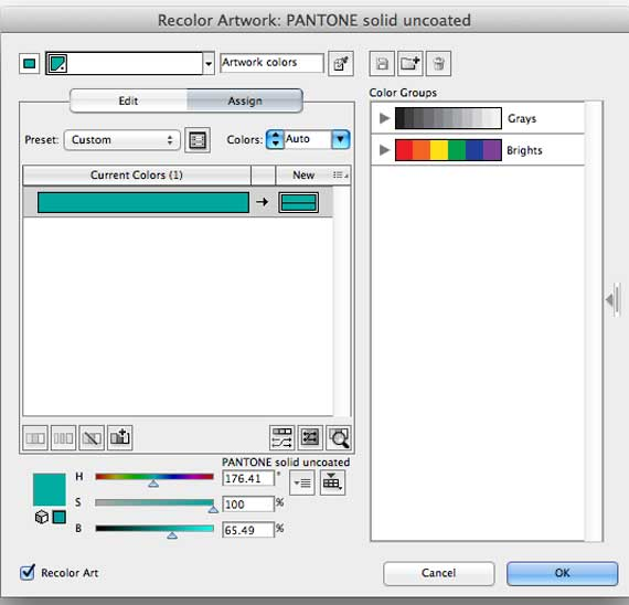 Illustrator screen shot of recolor artwork