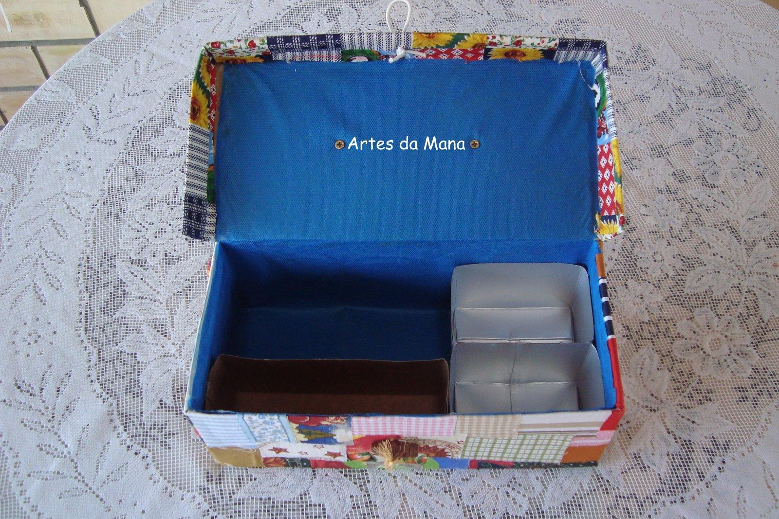Caixa de sapato reciclagem ARTES DA MANA #1F5E9C 1600x1067