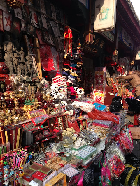 colour, China, silk, trinkets, stall, market,