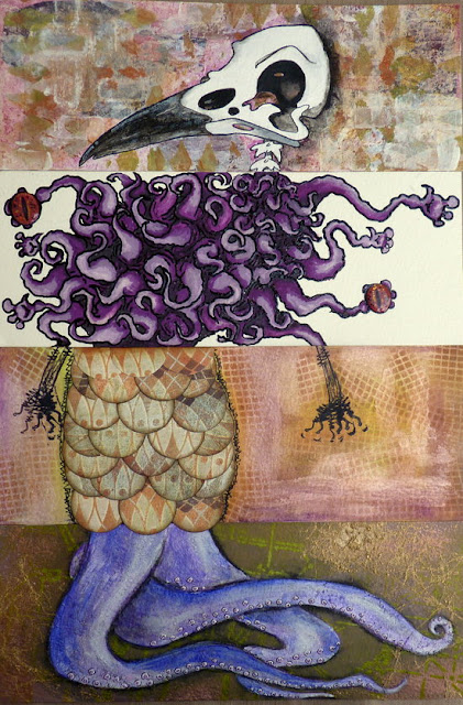 Whoopidooings: Carmen Wing: Collaborative Mixed Media Exquisite Corpse