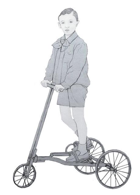 niño, patin, años 20, dibujo