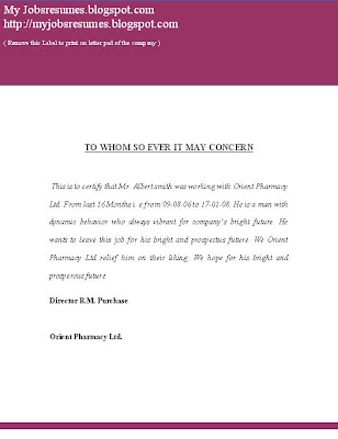 Experience Certificate Letter Template