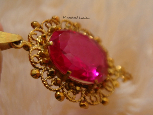 pink stone gold pendant+native indian jewelry