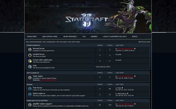 Free Blue Starcraft Games Php-fusion Style Theme