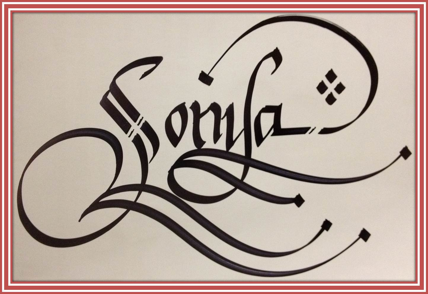 Calligraphy Art Russian Names In Calligraphy Sonya
