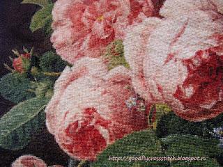 Вышивка крестом розы в стеклянной вазе от голден кайт