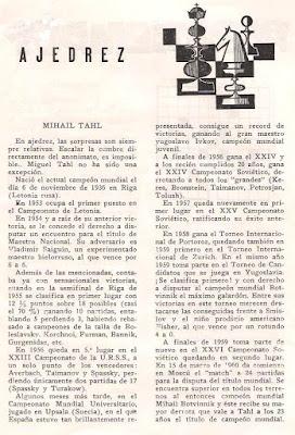 Sección de ajedrez de la revista El Polvorín, septiembre 1960