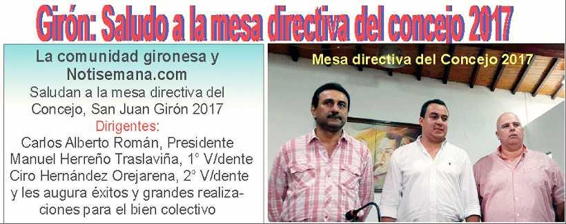 Mesa directiva del concejo de Girón 2017