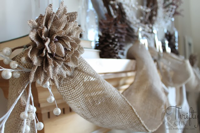 Burlap as Christmas Garland for Mantel