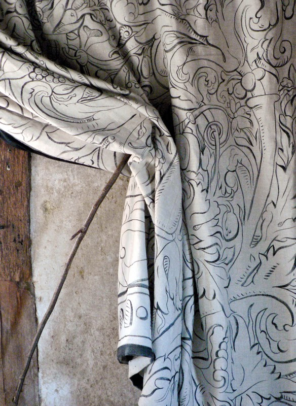 Multivine curtain by MW on hand painted linen