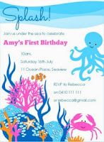 Girl Under the Sea Birthday Party Invitation Printable persinalized