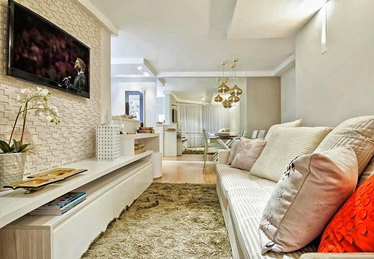 Sala Com Tv Na Parede ~ 15 Paredes revestidas com pedras para inspirar você!  Jeito de Casa
