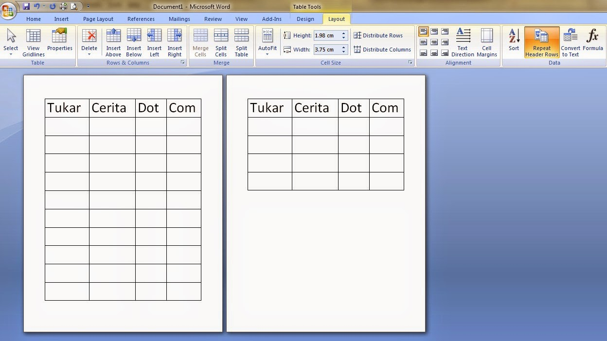 Repeat Header pada Layout tabel Ms Word