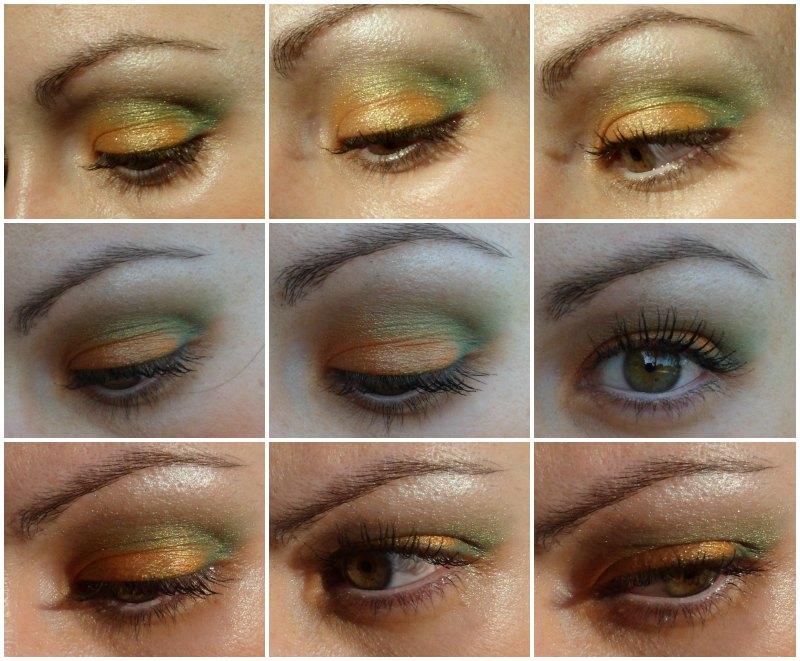 Maquillaje tonos verdes y naranjas