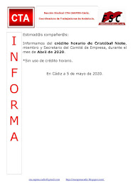 C.T.A. INFORMA CRÉDITO HORARIO CRISTOBAL NIETO, ABRIL 2020