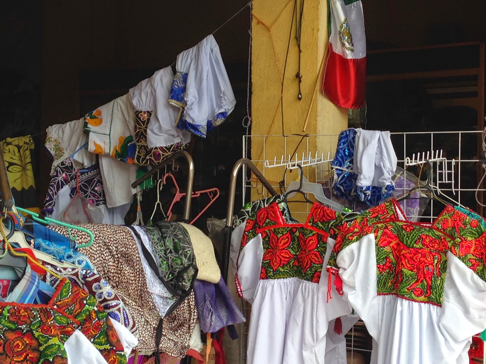 hand-embroidered ítems in Jaracuaro at Lake Pátzcuaro