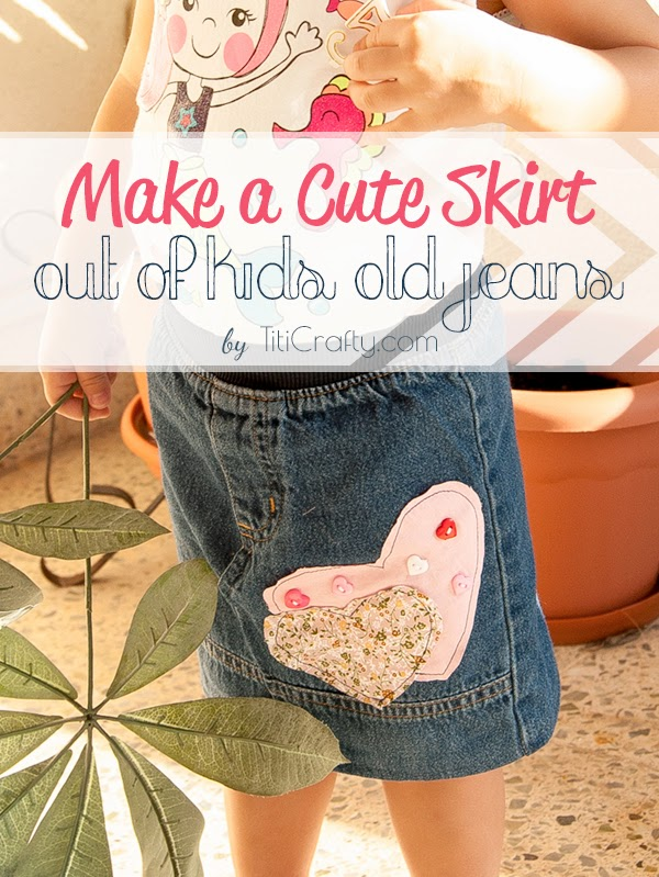Make a Cute Skirt out of kids old jeans