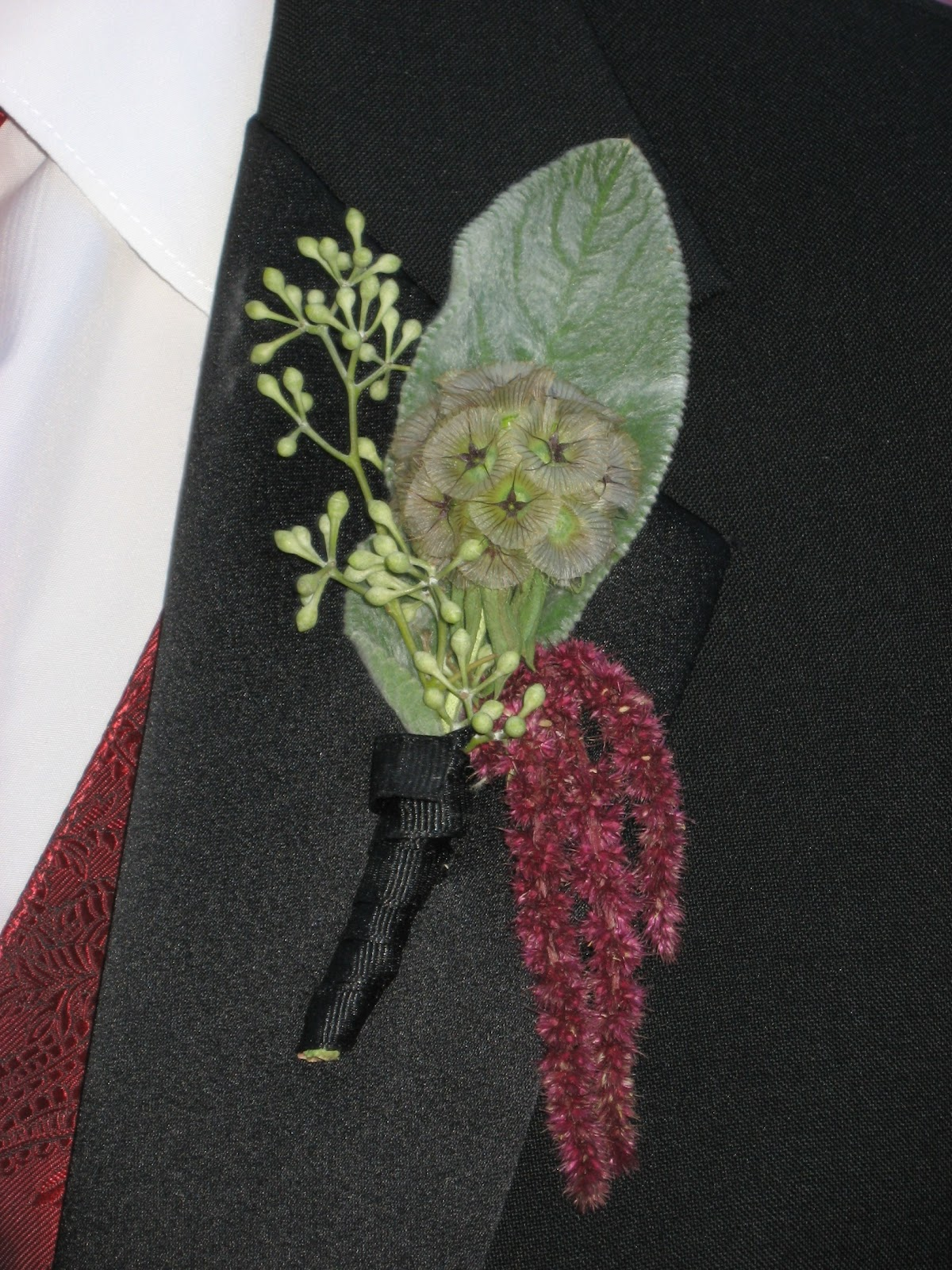 Scabiosa Pod and Hanging Amaranthus Boutonniere - Boutonnieres - Wedding Flowers - Groom - Usher - Best Man - Groomsmen - Ushers - Groom's Boutonniere