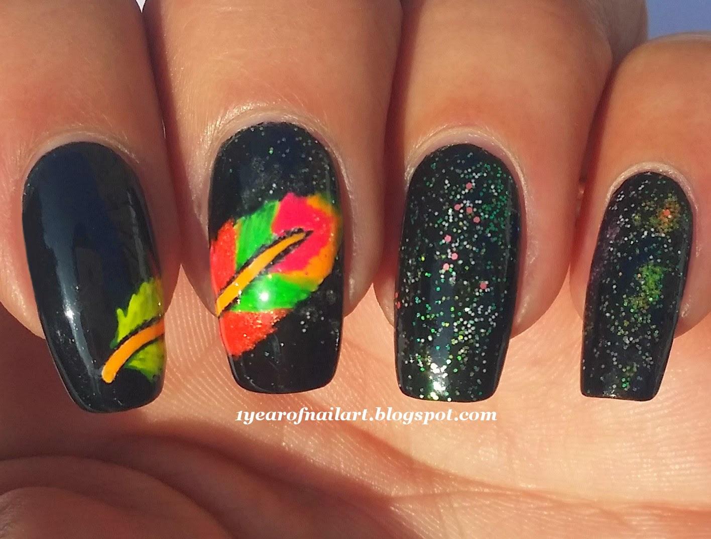 365+ days of nail art: Neon feather nail art