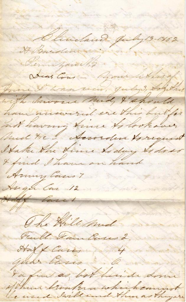 1862 Letter Between Patent/Homeopathic Medicine Dealers