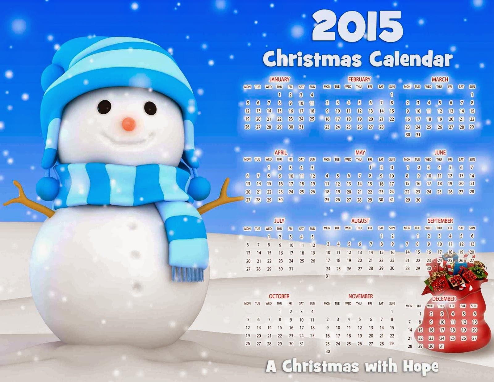 Muñeco de nieve con regalos y calendario 2015 en inglés