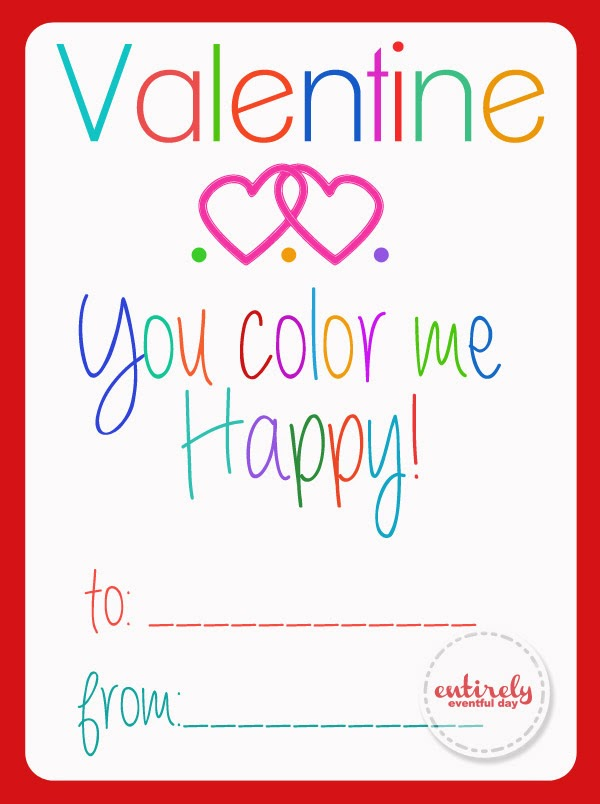 Color Me Happy Valentines. Free printable valentines. Just add one of those mini coloring book packs. Great sugar-free valentine for the little ones. #sugarfreevalentine #valentinesday #freevalentines