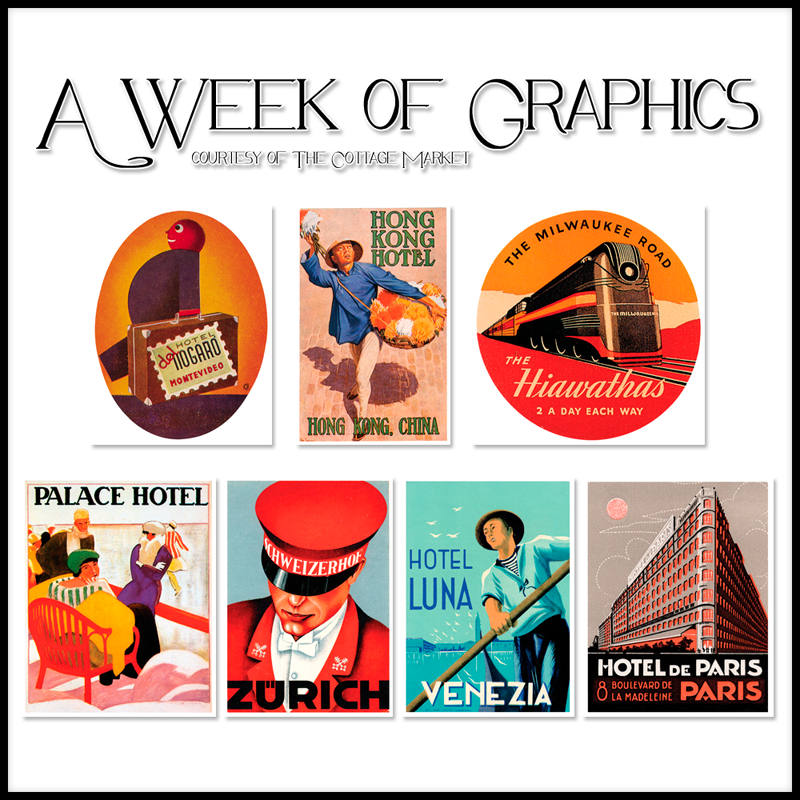 free graphics of the week vintage travel stickers the cottage market