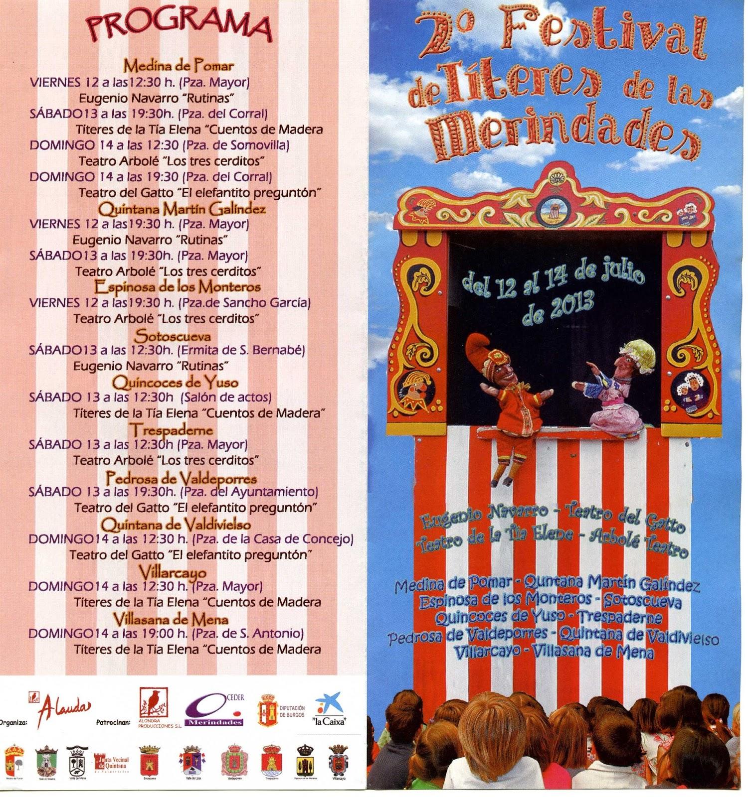 Programa del Festival de Títeres de las Merindades 2013