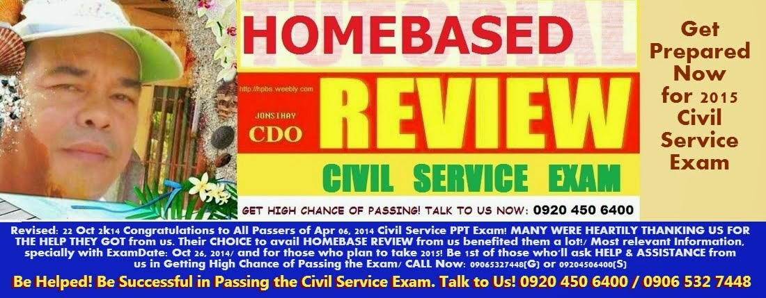Be Helped! Be Successful in Passing the Civil Service Exam. Talk to Us! 0920 450 6400