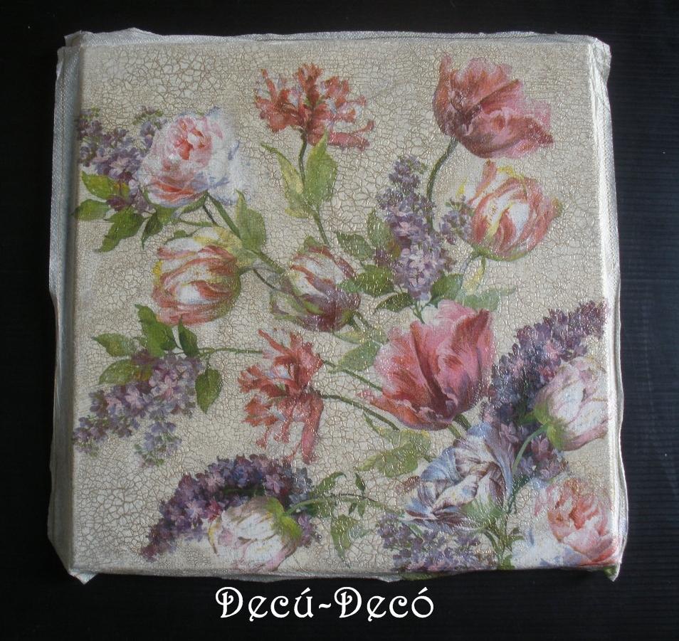 El rinc n del decoupage cuadro craquelado con servilleta - Decoupage con servilletas en muebles ...