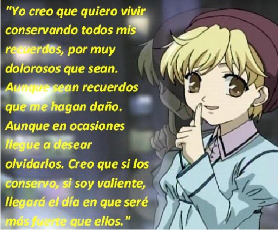Frases con fotos del anime. MOMIJI