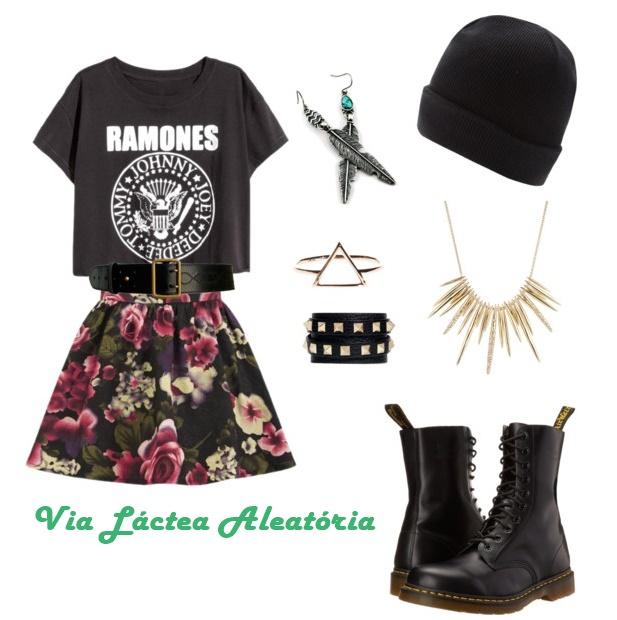 Look rocker com saia, camiseta de banda e gorro