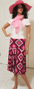 Ladies Black, White, and Pink full Circle Skirt