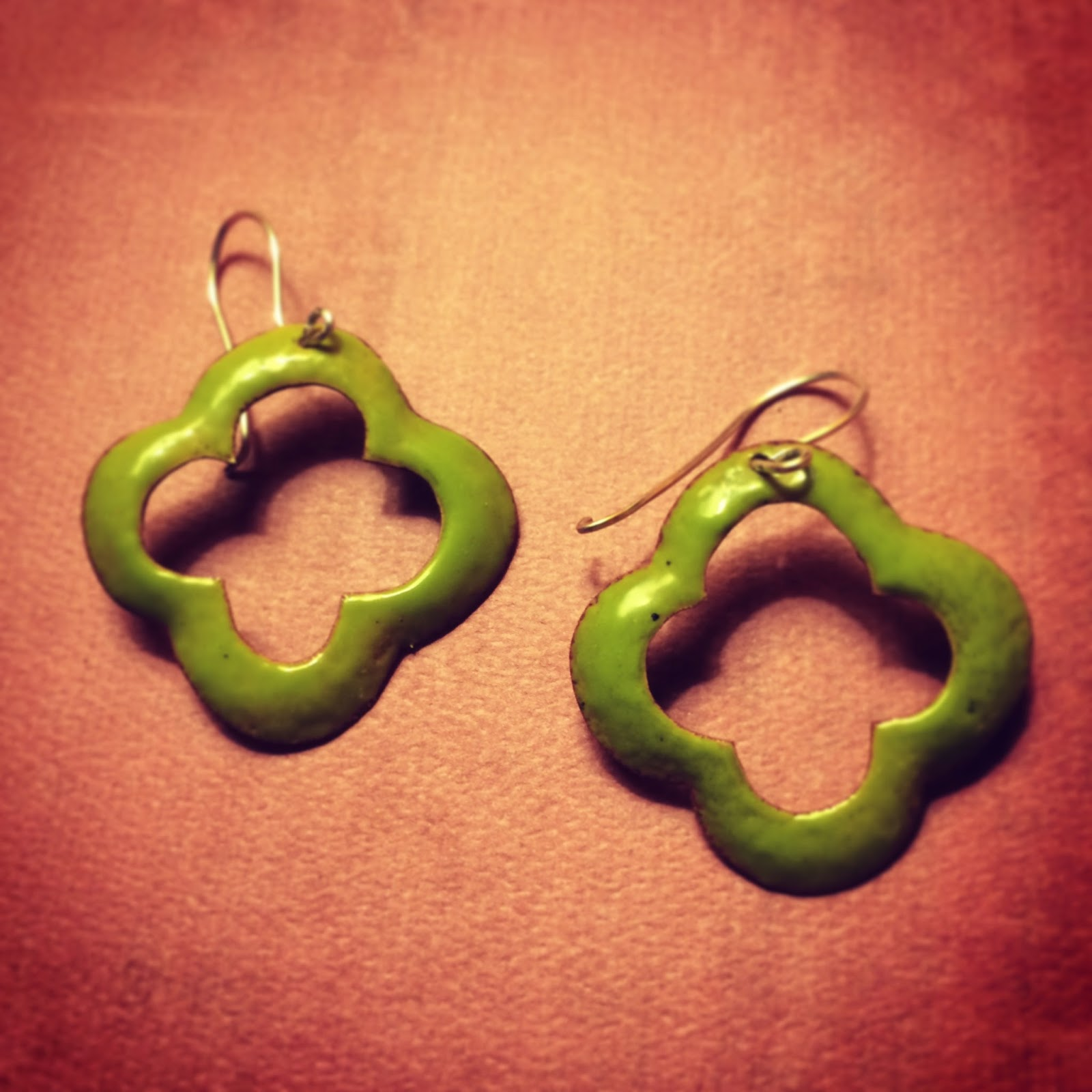 Die formed shamrock earrings enameled lime green