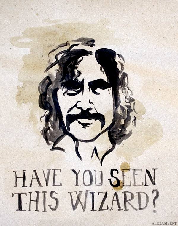 aliciasivert, alicia sivert, alicia sivertsson, harry potter, poster, affisch, halloween, party, painted, painting, acrylics, akrylfärg, måla, målad, målat, måleri, black and white, have you seen this wizard, sirius black, wanted poster, efterlysning
