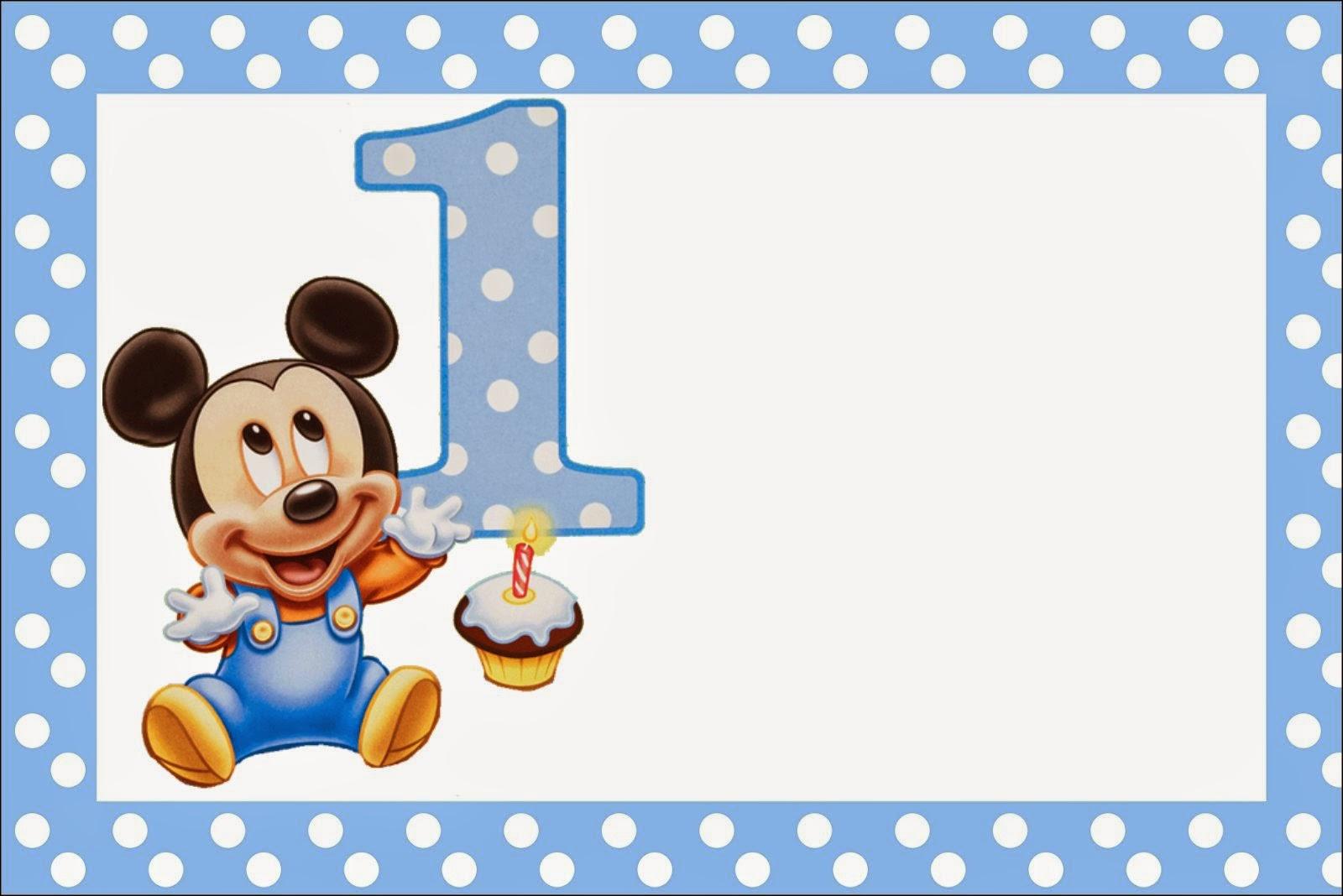 Mickey Primer A O Con Lunares Invitaciones Para Imprimir