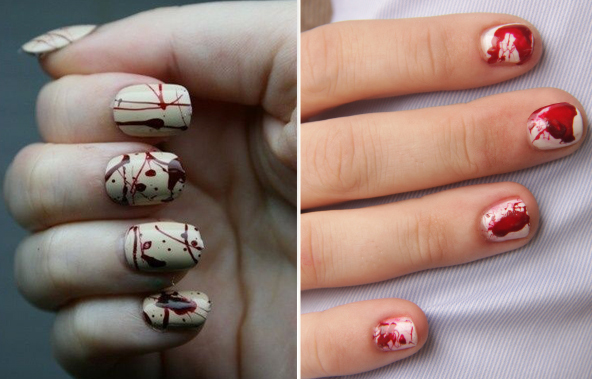 bloody zombie nails, halloween manicures