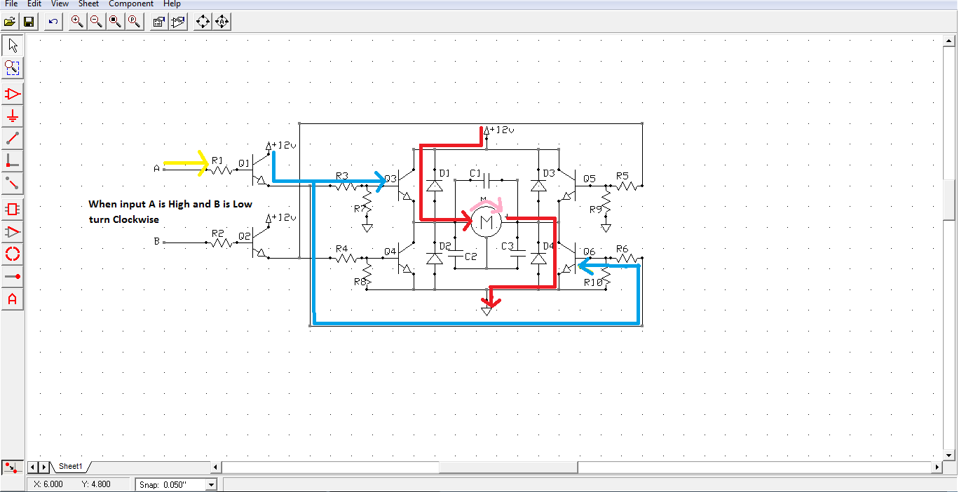Electronic Projects H Bridge Circuit For The Underwater Rover Project Diag When Input A Is High And B Remains Low Motor Turns Clockwise