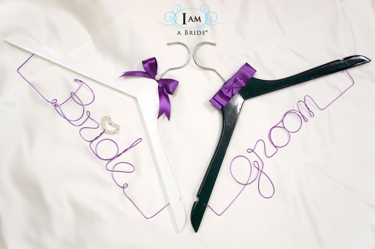 I am a bride personalise bridal wedding gown online malaysia that bride hanger white hanger purple wire purple satin ribbon with pearls groom hanger black hanger purple wire purple satin ribbon bow solutioingenieria Images