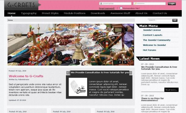 Free Pink Gray Crafts Jquery Joomla Theme Template