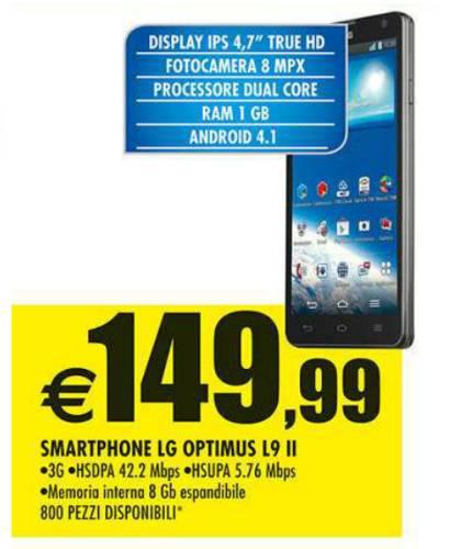 Miglior prezzo nel volantino Auchan per lo smartphone Optimus L9 II di LG