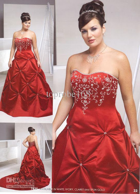 Red Plus Size Wedding Dresses for Women