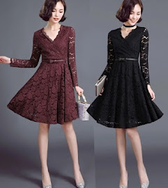 Maroon/Black Belted Lace Fit & Flare Dress