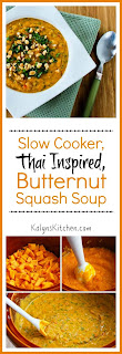 Slow Cooker Thai-Inspired Butternut Squash and Peanut Soup with Red Bell Pepper, Lime, and Cilantro [found on KalynsKitchen.com]