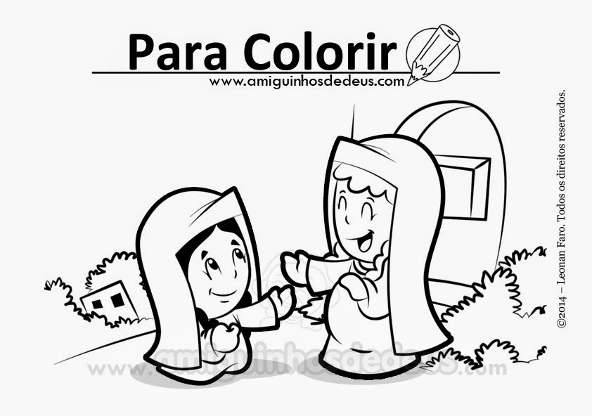 Maria visita isabel desenho para colorir
