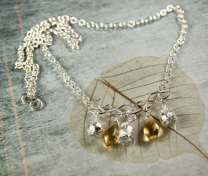 citrine briolettes and sterling silver poppy heads