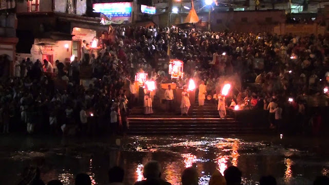 Aarti at Haridwar har ki pauri at evening